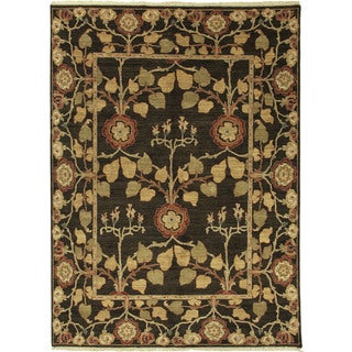 Hand Knotted Floral Pattern Brown/ Gold Wool Area Rug (4'x6')