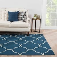 Carme Indoor/ Outdoor Trellis Blue/ Cream Area Rug - 2' x 3'