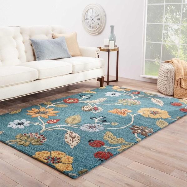 "Bloomsbury Handmade Floral Blue/ Multicolor Area Rug (8' X 10') - 7'10"" x 9'10"""