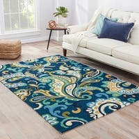 "Elsita Indoor/ Outdoor Floral Blue/ Green Area Rug (7'6"" X 9'6"")"