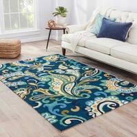 """Elsita Indoor/ Outdoor Floral Blue/ Green Area Rug (5' X 7'6"""")"""