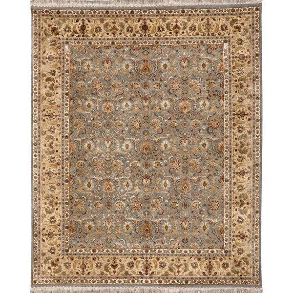 Oriental Pattern Blue/ Gold  Wool/ Art Silk Area Rug (2'x3')
