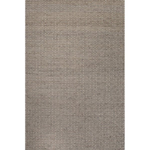 Handmade Geometric Pattern Grey/ White Wool/ Hemp Area Rug (4'x6')