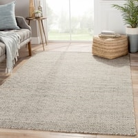 "Merit Natural Geometric Gray/ White Area Rug (8' x 10') - 7'10""x9'10"""