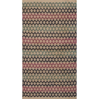 Handmade Abstract Pattern Pink/ Blue Jute Area Rug (2'x3'4)
