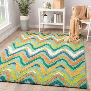 Handmade Abstract Pattern Green/ Multi Polypropylene Area Rug (2'x3')