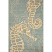 "Laguna Indoor/ Outdoor Animal Blue/ Beige Area Rug (7'6"" X 9'6"")"