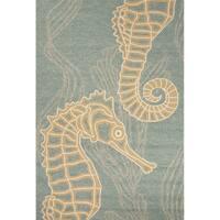 """Laguna Indoor/ Outdoor Animal Blue/ Beige Area Rug (5' X 7'6"""")"""