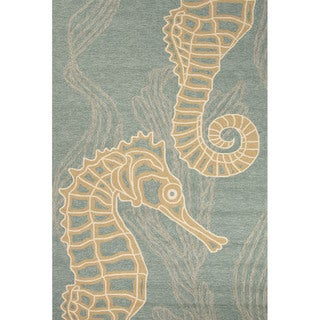 Handmade Abstract Pattern Blue/ Beige Polypropylene Area Rug (2'x3')