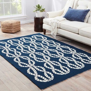 "Catamaran Indoor/ Outdoor Abstract Navy/ White Area Rug (5' X 7'6"") - 5' x 7'6"""