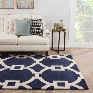 Geometric Pattern Blue/ White Wool/ Art Silk Area Rug (2'x3')