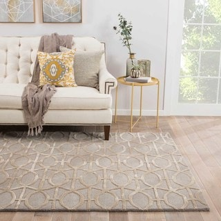Geometric Pattern Beige/ Grey Wool/ Art Silk Area Rug (2'x3')