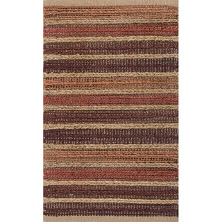 Handmade Abstract Pattern Red/ Natural Jute/ Cotton Area Rug (2' x 3'4)