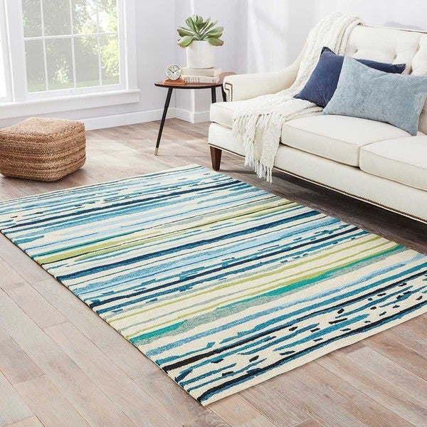 Havenside Home Provincetown Indoor/ Outdoor Abstract Blue/ Green Area Rug (7'6 x 9'6)