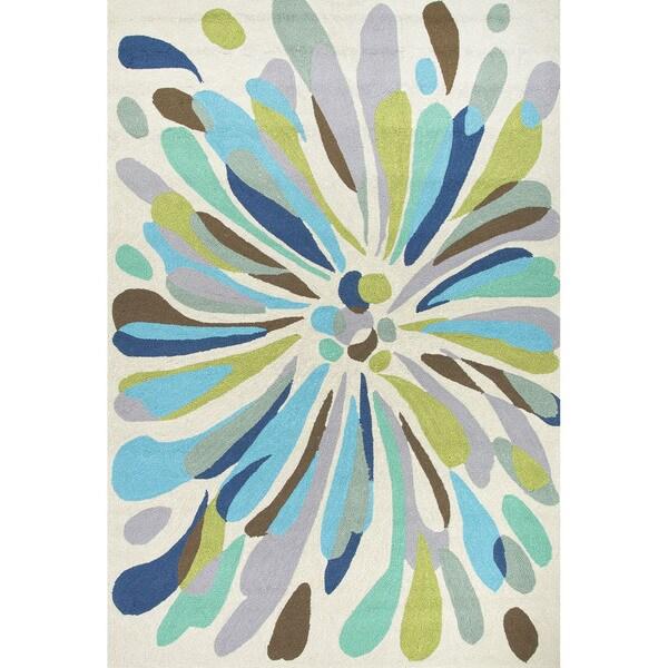 Fonteyne Indoor/ Outdoor Abstract Silver/ Multicolor Area Rug - 7'6x9'6