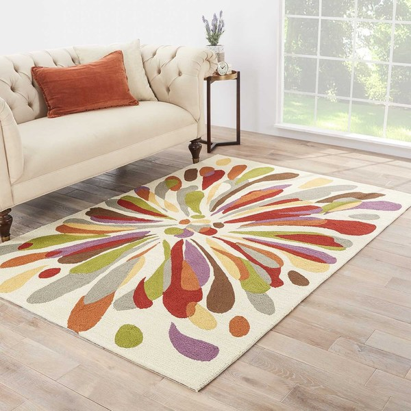"Fonteyne Indoor/ Outdoor Abstract Multicolor/ White Area Rug (7'6"" X 9'6"")"