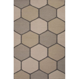 Flat Weave Geometric Pattern Grey/ Ivory Wool Area Rug (5' x 8')