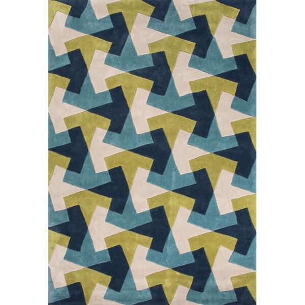 Geometric Pattern Blue/ Green Polyester Area Rug (7'6x9'6)