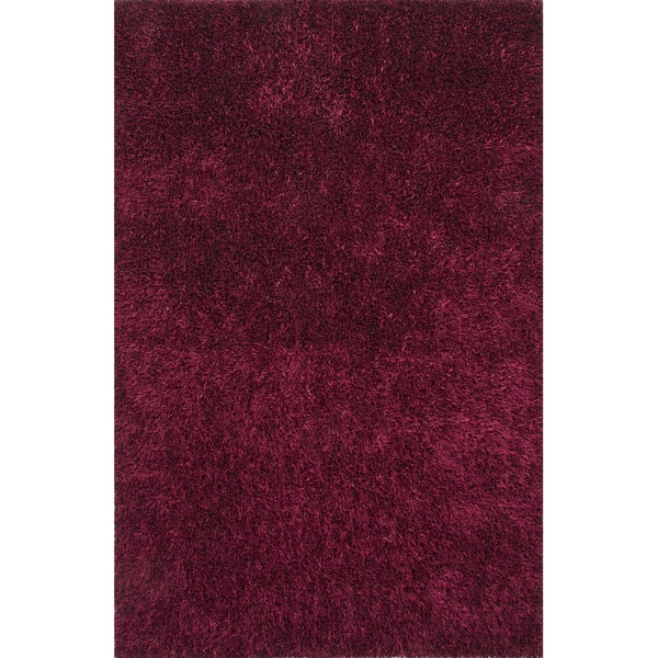 Solid Pattern Purple Polyester Shag Rug (3'6x5'6)