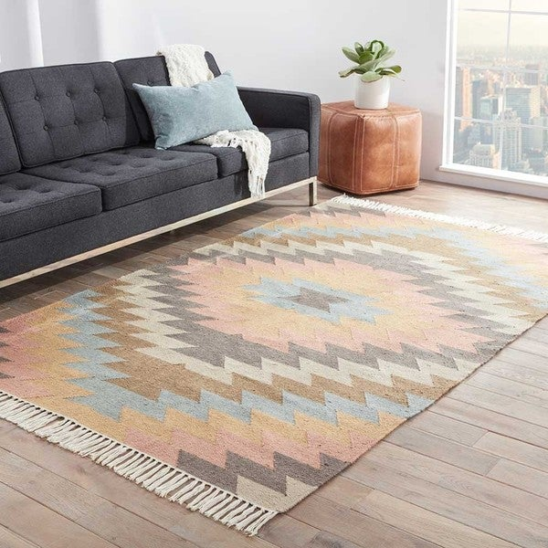 Southwestern/Tribal Pattern Blue/ Orange Polyester Area Rug (8' x 10') - 8' x 10'