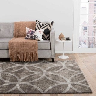 Hand Tufted Geometric Pattern Grey Wool/ Art Silk Area Rug (3'6 x 5'6)