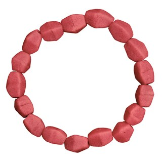 Handmade Pink Poppy Recycled Glass Pebbles Bracelet (Ghana)