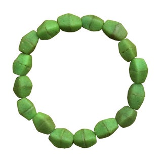 Handmade Lime Green Recycled Glass Pebbles Bracelet (Ghana)