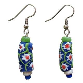 Handmade Recycled Glass Prosperity Bead Sister Earrings (Ghana)