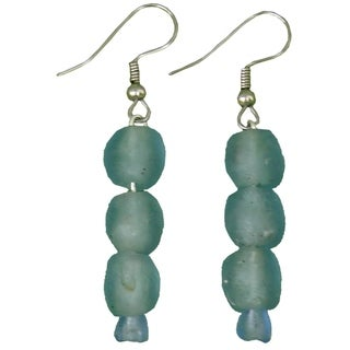 Sky Blue Pearl Recycled Glass Earrings (Ghana)