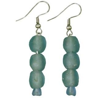 Handmade Sky Blue Pearl Recycled Glass Earrings (Ghana)