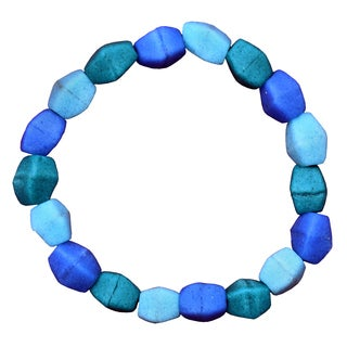 Ocean Blue Recycled Glass Pebbles Bracelet (Ghana)