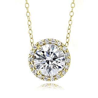 Icz Stonez Platinum Plated Sterling Silver 2ct TGW 100 Facets Cubic Zirconia Halo Necklace