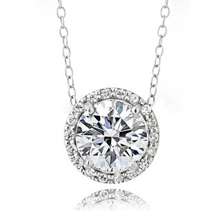 Icz Stonez Platinum Plated Sterling Silver 2ct TGW 100 Facets Cubic Zirconia Halo Necklace (3 options available)