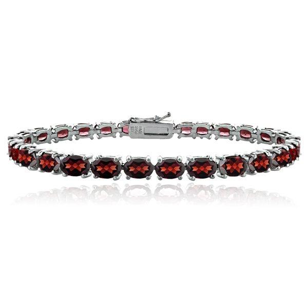 Glitzy Rocks Sterling Silver 20 1 3ct Tgw Garnet Tennis Bracelet