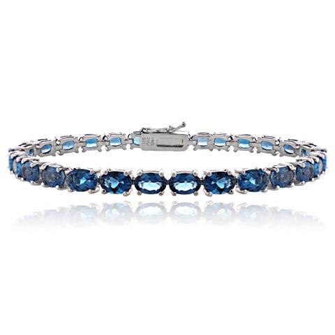 Glitzy Rocks Sterling Silver 16ct TGW London Blue Topaz Tennis Bracelet