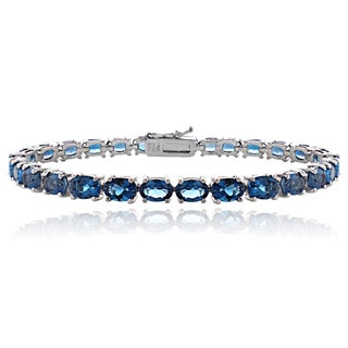 Glitzy Rocks Sterling Silver 16ct TGW London Blue Topaz Tennis Bracelet