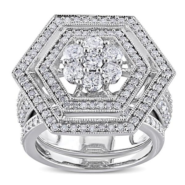 Miadora Signature Collection 10k White Gold 2ct TDW Diamond Bridal Ring Set (H-I, I2-I3)