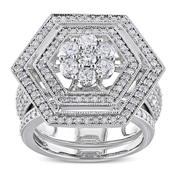 Miadora Signature Collection 10k White Gold 2ct TDW Diamond Bridal Ring Set