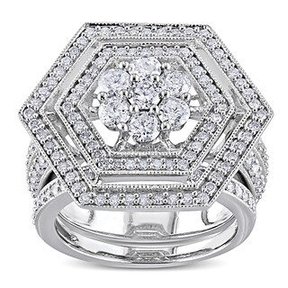 Miadora Signature Collection 10k White Gold 2ct TDW Diamond Bridal Ring Set