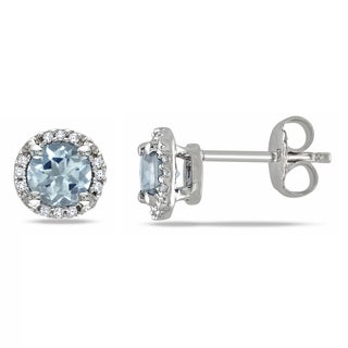 Miadora Sterling Silver Aquamarine and Diamond Accent Stud Earrings