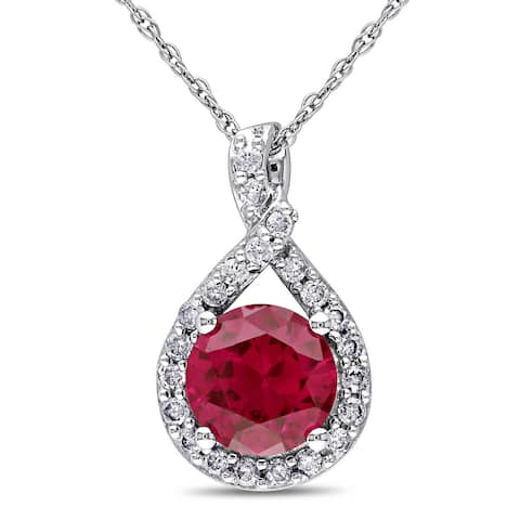 Miadora 10k White Gold Created Ruby and 1/5ct TDW Diamond Necklace (H-I, I2-I3) - Red