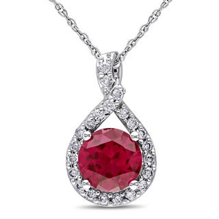 Miadora 10k White Gold Created Ruby and 1/5ct TDW Diamond Necklace (H-I, I2-I3)