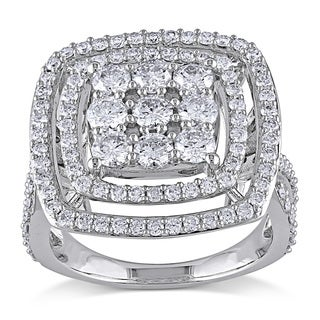 Miadora Signature Collection 14k White Gold 2ct TDW Diamond Square Multi Halo Ring (G-H, I1-I2)