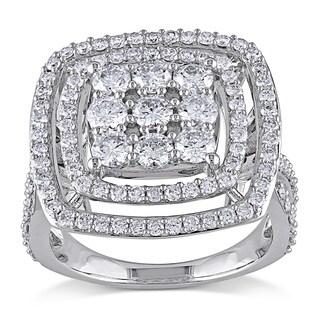Miadora Signature Collection 14k White Gold 2ct TDW Diamond Square Multi-halo Engagement Ring