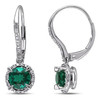 Miadora 10k White Gold Created Emerald and 1/10ct TDW Diamond Earrings (H-I, I2-I3)