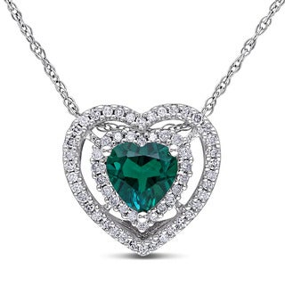 Miadora 10k White Gold Created Emerald and 1/5ct TDW Diamond Heart Necklace (H-I, I2-I3)