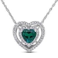 Miadora 10k White Gold Created Emerald and 1/5ct TDW Diamond Heart Necklace (H-I, I2-I3)