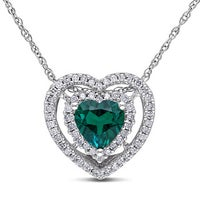 Shop miadora 10k white gold created emerald and 15ct tdw diamond miadora 10k white gold created emerald and 15ct tdw diamond heart necklace h i aloadofball Gallery
