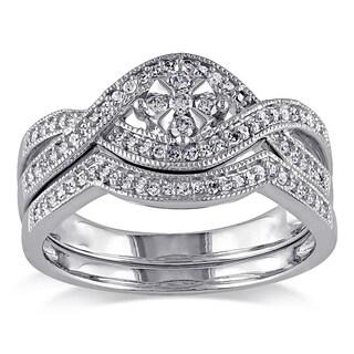 Miadora 10k White Gold 1/3ct TDW Diamond Floral Bridal Ring Set (H-I, I2-I3)
