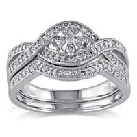 Miadora 10k White Gold 1/3ct TDW Diamond Floral Bridal Ring Set